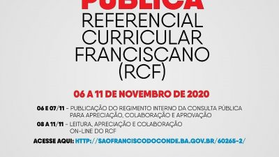 Consulta Pública do Referencial Curricular Franciscano é adiada até o dia 15 de novembro