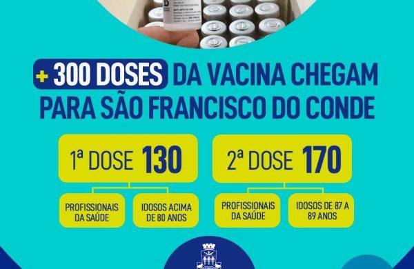São Francisco do Conde recebeu mais 300 doses da vacina contra a COVID-19
