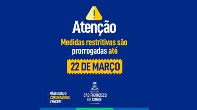 São Francisco do Conde prorroga medidas contra o coronavírus até 22 de março de 2021