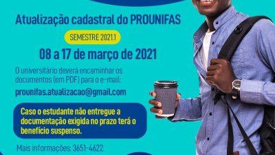 Atualização cadastral ONLINE do PROUNIFAS termina dia 17 de março (quarta-feira)