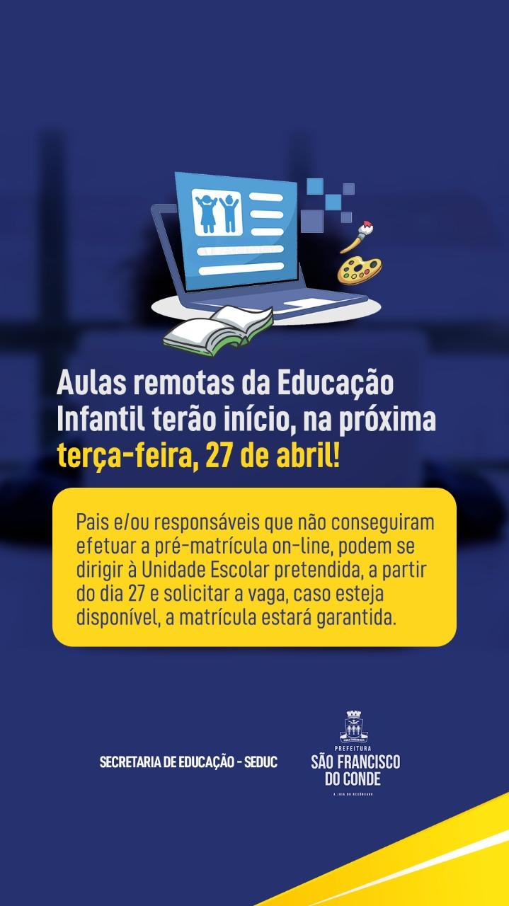 Aulas remotas da Educação Infantil terão início no dia 27 de abril