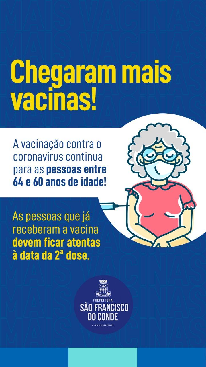 São Francisco do Conde dará continuidade à vacinação contra a COVID-19 para idosos de 64 a 60 anos