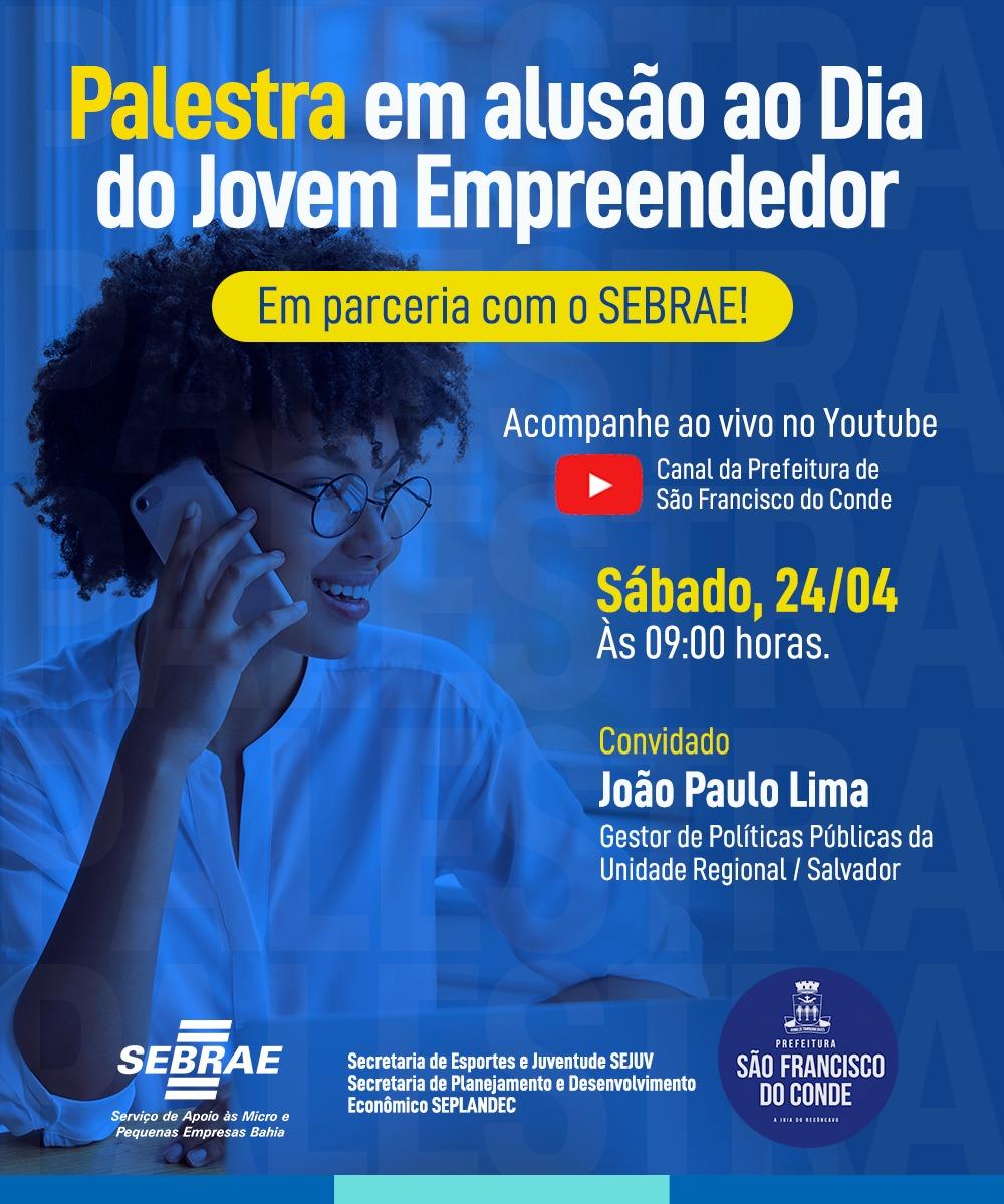 Dia Internacional do Jovem Trabalhador será lembrado com palestra do SEBRAE, neste sábado (24)