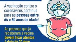 São Francisco do Conde segue vacinando pessoas de 64 a 60 anos contra o coronavírus