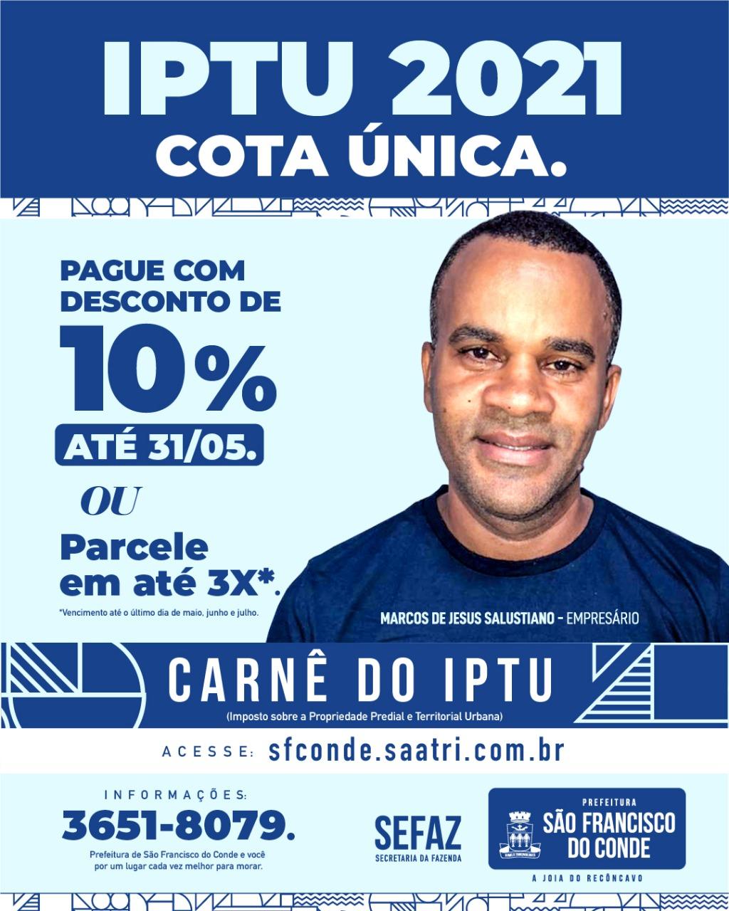IPTU 2021 com 10% de desconto até 31 de maio