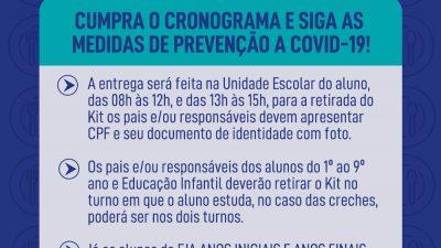 Confira o Cronograma de Entrega do Kit Alimentação Escolar em maio