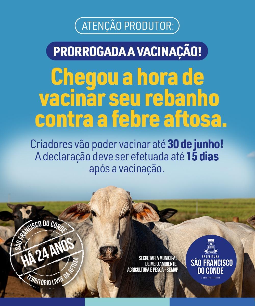 Atenção Produtor: Foi prorrogado o prazo para vacinar o rebanho contra a febre aftosa