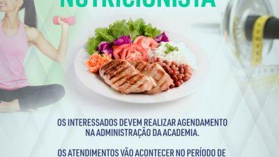 Inscritos na Academia Pública e gratuita do município vão ter acesso a consulta com nutricionista