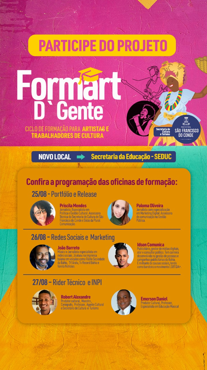 Formart D'Gente: Ciclo de Formação para artistas e trabalhadores de cultura acontece dias 25, 26 e 27 de agosto