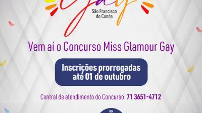 Concurso Miss Glamour Gay: Inscrições prorrogadas até 01 de outubro